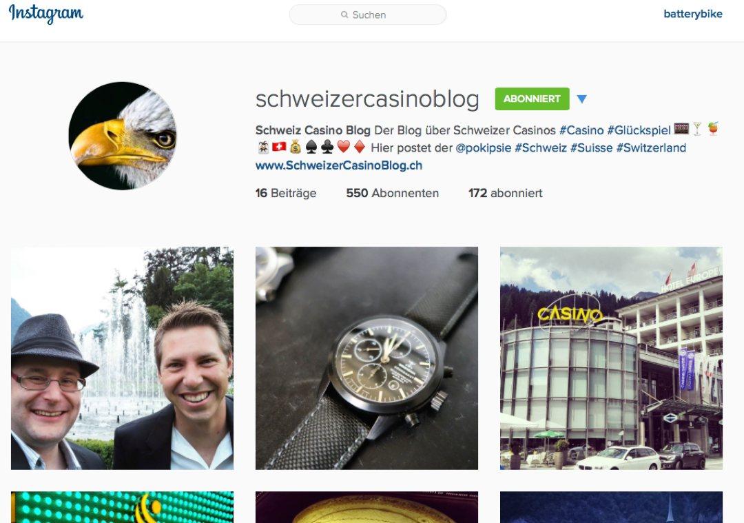 Schweizer Casino Blog auf Instagram